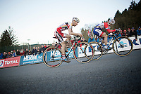 Lars Van der Haar (NLD/Giant-Shimano) checks out Kevin Pauwels (BEL/Sunweb-Napoleon Games) during the steep Raidillon finish climb<br /> <br /> Superprestige Francorchamps 2014