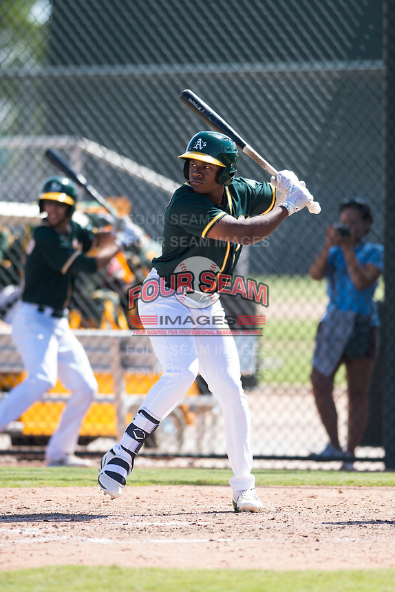 Oakland Athletics outfielder Jameson Hannah (53) at bat during an Instructional League game against the Chicago White Sox at Lew Wolff Training Complex on October 5, 2018 in Mesa, Arizona. (Zachary Lucy/Four Seam Images)
