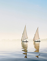 Two traditional Egyptian Feluccas, sailing boats, cruising down the River Nile near Luxor, Egypt