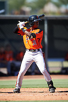 San Francisco Giants Jalen Miller (18) during an Instructional League game against the Los Angeles Angels of Anaheim on October 13, 2016 at the Tempe Diablo Stadium Complex in Tempe, Arizona.  (Mike Janes/Four Seam Images)