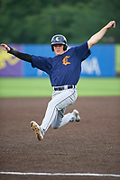 Connecticut Tigers Kingston Liniak (17) slides safely into third base during a NY-Penn League game against the Auburn Doubledays on July 12, 2019 at Falcon Park in Auburn, New York.  Auburn defeated Connecticut 7-5.  (Mike Janes/Four Seam Images)