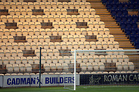 Gaps created in the seating areas ahead of the possible return of socially distanced crowds during Colchester United vs West Ham United Under-21, EFL Trophy Football at the JobServe Community Stadium on 29th September 2020