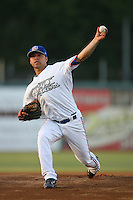 May 18 2009: Alberto Bastardo of the Inland Empire 66'ers pitches against the Lake Elsinore Storm at Arrowhead Credit Union Park in San Bernardino,CA.  Photo by Larry Goren/Four Seam Images