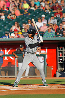 Dayton Dragons outfielder Andy Sugilio (5) at bat during a game against the Lansing Lugnuts at Cooley Law School Stadium on August 10, 2018 in Lansing, Michigan . Lansing defeated Dayton 11-4.  (Robert Gurganus/Four Seam Images)
