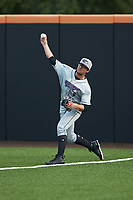Winston-Salem Dash right fielder Blake Rutherford (9) throws the ball back to the infield after catching a fly ball during the game against the Buies Creek Astros at Jim Perry Stadium on August 15, 2018 in Buies Creek, North Carolina.  The Astros defeated the Dash 5-0.  (Brian Westerholt/Four Seam Images)