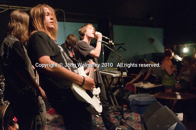 """""""Wino Wednesdays"""" performing.  Students on the 2yrs National Diploma in Music course put on an evening of bands at the Grey Horse pub, Kingston upon Thames.  They would have organised everything themselves: marketing, DJ-ing, production and performing.  This band, """"Wino Wednesdays""""."""