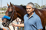 ARCADIA, CA  JULY 13:  #1 Game Winner, and groom Eduardo G. Luna leave the winners circle after winning the Los Alamitos Derby (Grade lll) on July 13, 2019 at Los Alamitos Race Course in Cerritos, CA.(Photo by Casey Phillips/Eclipse Sportswire/CSM)
