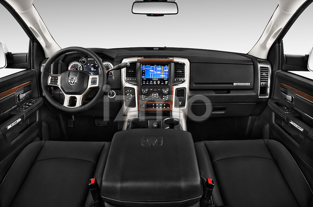 Stock photo of straight dashboard view of a 2017 Ram 3500 Laramie 4 Door Van