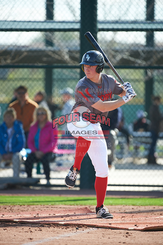 Calin Smith (7) of Trinity Christian High School in Peachtree City, Georgia during the Under Armour All-American Pre-Season Tournament presented by Baseball Factory on January 14, 2017 at Sloan Park in Mesa, Arizona.  (Art Foxall/MJP/Four Seam Images)