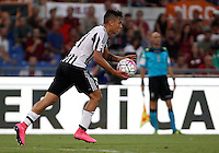 Calcio, Serie A: Roma vs Juventus. Roma, stadio Olimpico, 30 agosto 2015.<br /> Juventus' Paulo Dybala handles the ball after scoring during the Italian Serie A football match between Roma and Juventus at Rome's Olympic stadium, 30 August 2015.<br /> UPDATE IMAGES PRESS/Isabella Bonotto