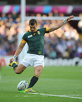 Handre Pollard of South Africa takes an early penalty kick during Match 15 of the Rugby World Cup 2015 between South Africa and Samoa - 26/09/2015 - Villa Park, Birmingham<br /> Mandatory Credit: Rob Munro/Stewart Communications