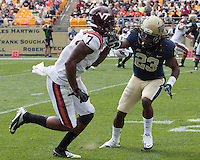 Pitt cornerback Lafayette Pitts (23) covers Virginia Tech wide receiver Marcus Davis (7). The Pitt Panthers defeated the Virginia Tech Hokies 35-17 at Heinz field in Pittsburgh, PA on September 15, 2012.