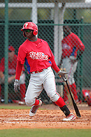 Philadelphia Phillies outfielder Kyrell Hudson #12 during an Instructional League game against the Pittsburgh Pirates at Pirate City on October 11, 2011 in Bradenton, Florida.  (Mike Janes/Four Seam Images)