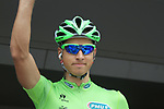 Peter Sagan (SVK) Liquigas-Cannondale wearing the Green Jersey at sign on before the start of Stage 2 of the 99th edition of the Tour de France 2012, running 207.5km from Vise to Tournai, Belgium. 2nd July 2012.<br /> (Photo by Eoin Clarke/NEWSFILE)