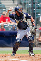 Catcher Derek Norris #25 of the Harrisburg Senators throws the ball back to his pitcher during the game against the Richmond Flying Squirrels at The Diamond on July 22, 2011 in Richmond, Virginia.  The Squirrels defeated the Senators 5-1.   (Brian Westerholt / Four Seam Images)