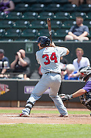 Sam Travis (34) of the Salem Red Sox at bat against the Winston-Salem Dash at BB&T Ballpark on May 31, 2015 in Winston-Salem, North Carolina.  The Red Sox defeated the Dash 6-5.  (Brian Westerholt/Four Seam Images)