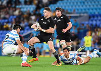 12th September 2021; Cbus Super Stadium, Robina, Queensland, Australia; Rugby International series, New Zealand versus Argentina:  Beauden Barrett breaks an ankle tackle