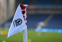 7th November 2020; Ewood Park, Blackburn, Lancashire, England; English Football League Championship Football, Blackburn Rovers versus Queens Park Rangers; Remembrance Day Poppies on a corner flag at the Ronnie Clayton end