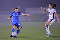 Silke Sneyers (2) of KRC Genk and Stefania Vatafu (10) of Anderlecht in action  during a female soccer game between  Racing Genk Ladies and Royal Sporting Club Anderlecht , a delayed game from the 1st  matchday of the 2021-2022 season of the Belgian Scooore Womens Super League , tuesday 28 September 2021  in Genk , Belgium . PHOTO SPORTPIX | JILL DELSAUX