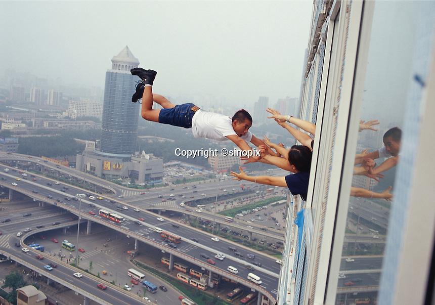 """Li Wei artwork named """"29 levels of freedom"""" in SoHo Beijing...PHOTO BY SINOPIX"""