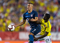 Tampa, FL - Thursday, October 11, 2018: Bobby Wood, Deiver Machado during a USMNT match against Colombia.  Colombia defeated the USMNT 4-2.
