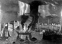 Burning of the Frigate Philadelphia in the Harbour of Tripoli, 16th Feb. 1804, by 70 Gallant Tars of Columbia commanded by Lieut. Decatur.  Copy of aquatint by F. Kearny, ca. 1804-8. (OWI)<br /> NARA FILE #:  208-LU-25H-5<br /> WAR & CONFLICT BOOK #:  75