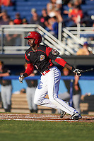 Batavia Muckdogs left fielder Isaiah White (18) at bat during a game against the West Virginia Black Bears on June 29, 2016 at Dwyer Stadium in Batavia, New York.  West Virginia defeated Batavia 9-4.  (Mike Janes/Four Seam Images)