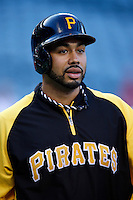 Pedro Alvarez #24 of the Pittsburgh Pirates before a game against the Los Angeles Angels at Angel Stadium on June 21, 2013 in Anaheim, California. (Larry Goren/Four Seam Images)