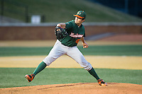 Miami Hurricanes starting pitcher Thomas Woodrey (43) in action against the Wake Forest Demon Deacons at Wake Forest Baseball Park on March 20, 2015 in Winston-Salem, North Carolina.  The Hurricanes defeated the Demon Deacons 15-2.  (Brian Westerholt/Four Seam Images)