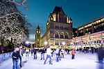 United Kingdom, England, London, Kensington: Christmas Ice Skating Rink outside the Natural History Museum