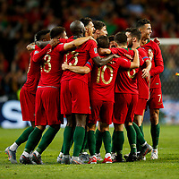 Portugal celebrate at full time of the UEFA Nations League Final match between Portugal and Netherlands at Estadio do Dragao on June 9th 2019 in Porto, Portugal. (Photo by Daniel Chesterton/phcimages.com)<br /> Finale <br /> Portogallo Olanda<br /> Photo PHC/Insidefoto <br /> ITALY ONLY