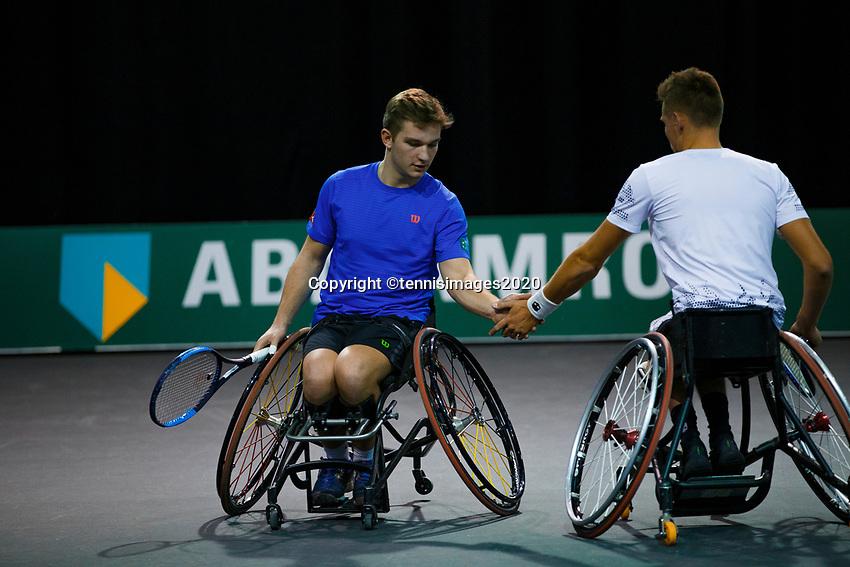 Rotterdam, The Netherlands, 11 Februari 2020, ABNAMRO World Tennis Tournament, Ahoy, <br /> Wheelchair tennis: Ruben Spaargaren (NED) / Jef Vandorpe (BEL). <br /> Photo: www.tennisimages.com