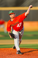 Relief pitcher AJ Salcines #47 of the Miami Hurricanes delivers a pitch to the plate against the Wake Forest Demon Deacons at Gene Hooks Field on March 19, 2011 in Winston-Salem, North Carolina.  Photo by Brian Westerholt / Four Seam Images