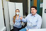 Pharmacist William Sheahan and Veronka Machova with the vaccine in Killarney on Monday