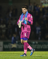 Matt Ingram of Wycombe Wanderers applauds the support during the Johnstone's Paint Trophy match between Bristol Rovers and Wycombe Wanderers at the Memorial Stadium, Bristol, England on 6 October 2015. Photo by Andy Rowland.