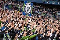 Seattle Sounders FC fans chant during pregame activities before play between the Seattle Sounders FC and the Houston Dynamo at Qwest Field in Seattle Friday March 25, 2011. The match ended in a 1-1 draw.