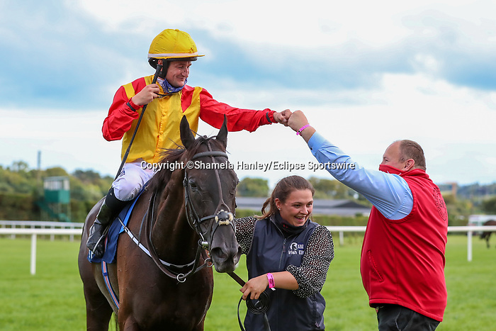 September 11, 2021: Camorra #1, ridden by jockey Gary Carroll wins the Group 3 Paddy Power Stakes on the turf on Irish Champions Weekend at Leopardstown Racecourse in Dublin, Ireland on September 11th, 2021. Shamela Hanley/Eclipse Sportswire/CSM