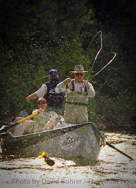 """RC: 0900 Morning session of fishing with overnight group along the South Fork of the Snake River. Snake River, ID.Vice President Dick Cheney catches trout on the Snake River in Snake River, Idaho Aug. 22, 2002. .Released to Primedia Outdoors 10.01.04..Released to AP 2.14.06.Released to National Journal. and to Department of the Interior for Jumbo.  .Used in OVP 2002 Christmas Slide Show.WEB .WEST WING JUMBO .Released to: HarperCollins Books for """"Cheney: The Untold Story of America's Most Powerful and Controversial Vice President Cheney"""" by Stephen Hayes. 4.13.07"""