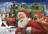 CHRISTMAS SANTA.Interlitho-Franco, SNOWMAN, WEIHNACHTSMÄNNER, SCHNEEMÄNNER, PAPÁ NOEL, MUÑECOS DE NIEVE,train, paintings+++++,KL6180,#x#