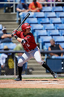 Altoona Curve second baseman Logan Ratledge (6) at bat during a game against the Binghamton Rumble Ponies on June 14, 2018 at NYSEG Stadium in Binghamton, New York.  Altoona defeated Binghamton 9-2.  (Mike Janes/Four Seam Images)