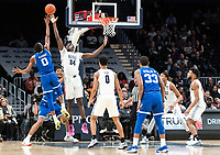 WASHINGTON, DC - FEBRUARY 05: Qudus Wahab #34 of Georgetown goes up to block a shot by Quincy McKnight #0 of Seton Hall during a game between Seton Hall and Georgetown at Capital One Arena on February 05, 2020 in Washington, DC.