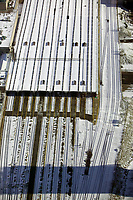 aerial photograph of the railroad tracksat  Union Station, Toronto, Ontario, Canada in winter