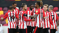 Ivan Toney celebrates scoring Brentford's second goal with Emiliano Marcondes during Brentford vs Coventry City, Sky Bet EFL Championship Football at the Brentford Community Stadium on 17th October 2020