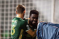 LAKE BUENA VISTA, FL - AUGUST 11: Larrys Mabiala #33 of the Portland Timbers celebrates a goal during a game between Orlando City SC and Portland Timbers at ESPN Wide World of Sports on August 11, 2020 in Lake Buena Vista, Florida.