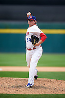 Buffalo Bisons pitcher Chad Jenkins (64) delivers a pitch during a game against the Columbus Clippers on July 19, 2015 at Coca-Cola Field in Buffalo, New York.  Buffalo defeated Columbus 4-3 in twelve innings.  (Mike Janes/Four Seam Images)
