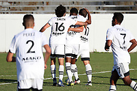 RICHMOND, VA - SEPTEMBER 30: Ben Speas #17 of North Carolina FC celebrates his goal with teammates Dre Fortune #8 and Graham Smith #16 during a game between North Carolina FC and New York Red Bulls II at City Stadium on September 30, 2020 in Richmond, Virginia.