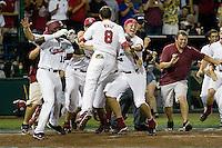 The South Carolina Gamecocks celebrate winning the NCAA Division One Men's College World Series on June 29th, 2010 at Johnny Rosenblatt Stadium in Omaha, Nebraska.  (Photo by Andrew Woolley / Four Seam Images)