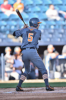 Tennessee Volunteers right fielder Chris Hall (5) awaits a pitch during a game against the UNC Asheville Bulldogs Bulldogs at McCormick Field on March 15, 2016 in Asheville, North Carolina. The Volunteers defeated the Bull Dogs 7-3. (Tony Farlow/Four Seam Images)