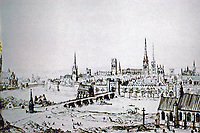 Sketch by English architect, Augustus Pugin, published in a  book, Contrasts, 1842. REF: https://utopiaordystopia.com/tag/augustus-pugin-contrasts/
