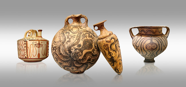 Minoan pottery with stylised octopus decorations, 1500-1400 BC, Heraklion Archaeological Museum, grey background.  <br /> <br /> From Left to right<br /> 1- Pseudostomos jug from Knossos-Venizeleio 1300-1200 BC, <br /> 2- flask with Marine style stylised octopus design,   Palaikastro,  1500-1450 BC; <br /> 3- conical rhython with Marine style stylised octopus design,   Palaikastro 1500-1450 BC; <br /> 5- far right Krater Episkopi Lerapetra 1370-1250 BC,